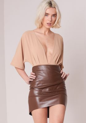 Emmie Brown Faux Leather Mini Skirt