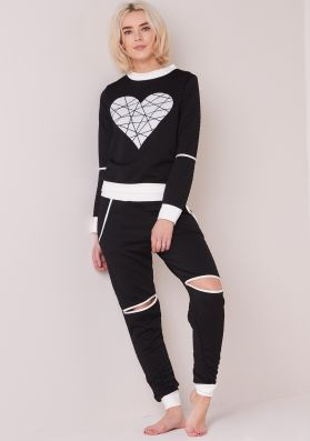 Mary Jo Black Heart Cut Out Knee Quilted Tracksuit