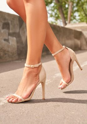 Valentia Nude Ankle Strap Heels