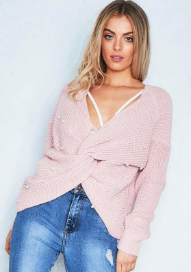 Gloria Pink Pearl Twist Front Oversize Knitted Jumper