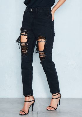 Jo Black Denim Distressed Ripped Boyfriend Jeans