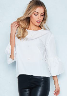 Amber White Pearl Embellished Bell Sleeve Smock Top