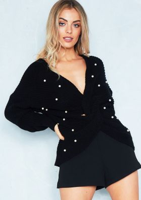 Gloria Black Pearl Twist Front Oversize Knitted Jumper