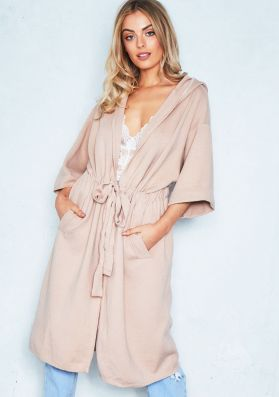 Molly Nude Hooded Longline Soft Knit Cardigan