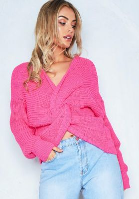 Amelia Hot Pink Twist Front Oversized Knitted Jumper