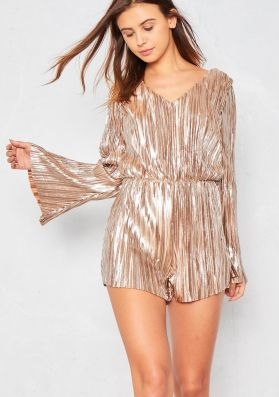 Adrienne Gold Pleated Open Back Playsuit