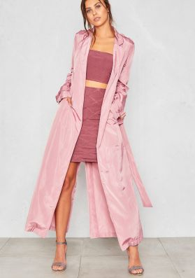 Corrie Pink Silky Maxi Trench Coat