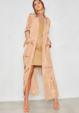 Corrie Nude Silky Maxi Trench Coat