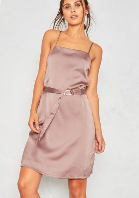 Sara Mink Satin D-Belt Slip Dress