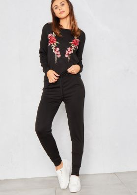 Corinne Black Embroidered Lounge Tracksuit