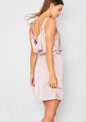 Liberty Nude Satin Plunge Wrap Dress