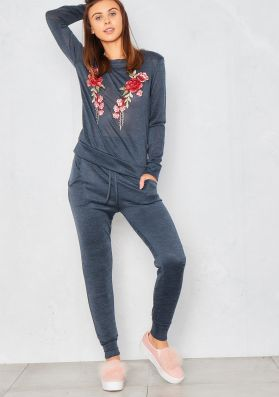Corinne Blue Embroidered Lounge Tracksuit