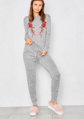 Corinne Grey Embroidered Lounge Tracksuit