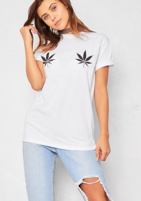 Mary White Leaf T Shirt