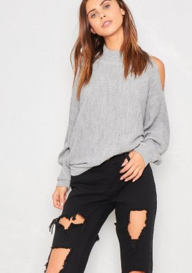 Cleo Grey Cold Shoulder Slouchy Knitted Jumper