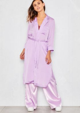 Clara Lilac Silky Contrast Piping Duster Jacket