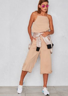 Abril Camel Tailored Crop Top and Culottes Co-Ord