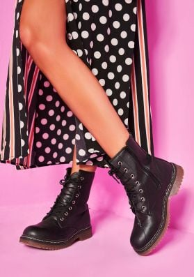 Lexi Black PU Lace Up Chunky Boots