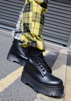 Cory Black Faux Leather Lace Up Boots