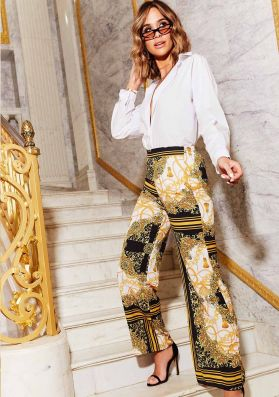 Abby Yellow Scarf Print Wide Leg Trousers