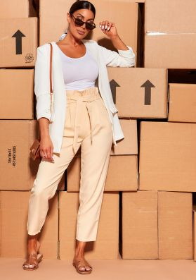 Kiki Beige Paperbag Tie High Waisted Trousers