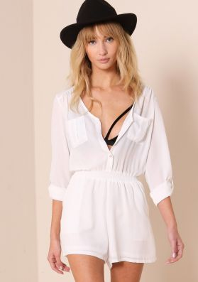 Sadie White Long Sleeved Button Up Playsuit