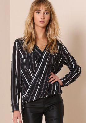 Jada Black And White Striped Wrap Front Blouse