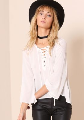 Gloria White Lace Up Bell Sleeve Blouse