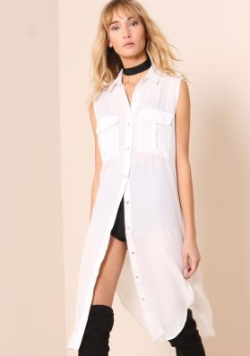 Sydney White Sheer Split Detail Longline Shirt
