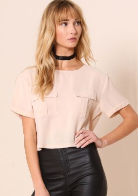 Kaia Nude Short Sleeved Utility Crop Top
