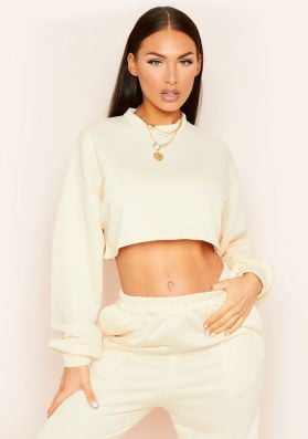 Hedda Cream Cropped Loopback Sweatshirt