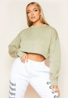Melanie Olive Green Raw Hem Crew Neck Cropped Sweater