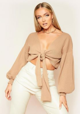 Shelly Mocha Knitted Balloon Sleeve Tie Front Cardigan