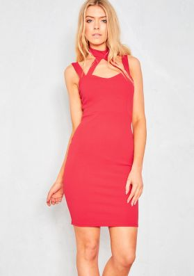 Alissa Red Caged Halterneck Bodycon Midi Dress