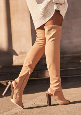 Deana Nude Cut Out Over Knee Boots