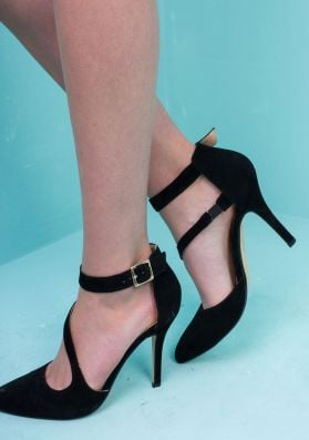 Carmel Black Pointed Toe Ankle Strap Heel