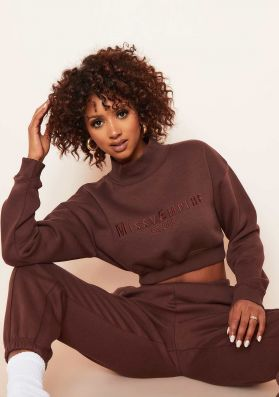Kara Chocolate High Neck Embroidered Cropped Sweatshirt