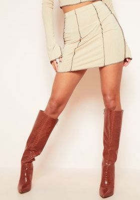 Louana Stone Contrast Stitch Ribbed Mini Skirt