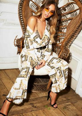Lily White Scarf Print Wide Leg Jumpsuit