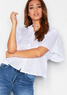 Merla White Oversized Sleeve Open Back Top