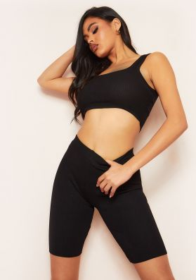 Becky Black Seamless Ribbed Crop Top And Short Co-Ord Set