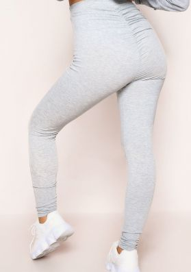Alaya Grey Ruched Bum Thick Jersey Leggings