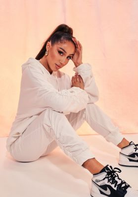 Kacie Ivory Ruched Sleeve Jogger and Hoodie Lounge Set