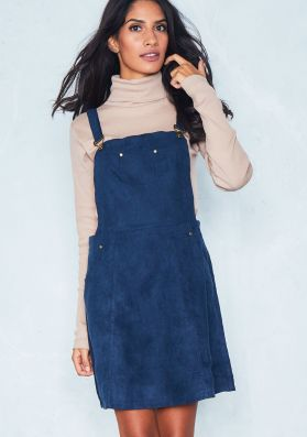 Alita Navy Faux Suede Pinafore Dress