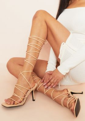 Seena Beige Lace Up Strappy Square Toe Heels