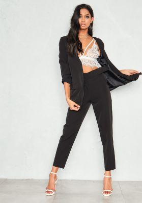 Izzy Black High Waist Belted Trousers
