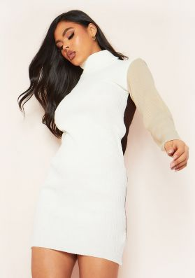 Jess Cream and Chocolate Colourblock Roll Neck Knit Mini Dress
