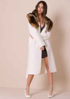 Olyvia White Faux Fur Collar Belted Coat