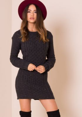 Celia Charcoal Cable Knit Dress