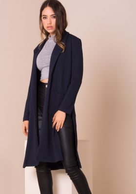 Keisha Navy Split Detail Duster Jacket